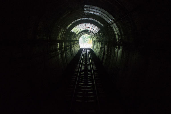 the light at the end of the Tunnel Train Tracks Commuting Japan Shikoku On The Way