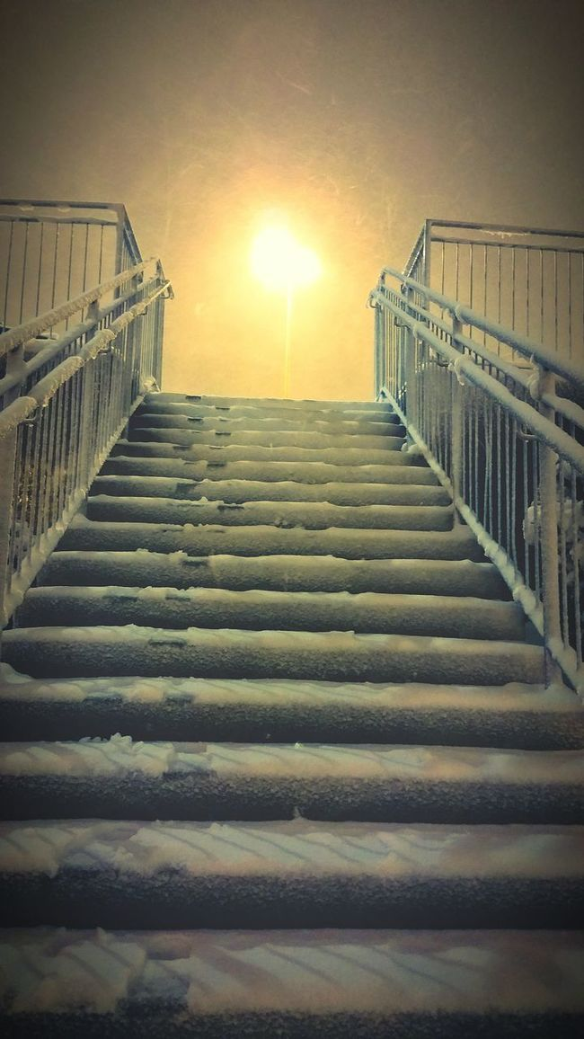Steps And Staircases Low Angle View Snow Cold Temperature Winter