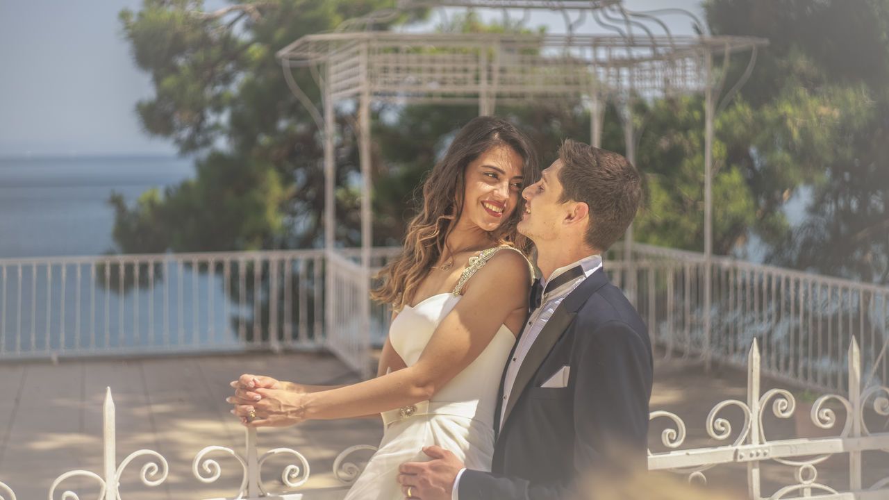 43 Golden Moments Bride And Groom Couple Day Dream EyeEm Best Shots Focus On Foreground My Year My View Lifestyles Love Natural Light Portrait Outdoors Pergola Portrait Sea Enjoy The New Normal Memories Toothy Smile Tree Turkishfollowers Wedding Wedding Photography Young Adult Young Women Always Be Cozy Uniqueness