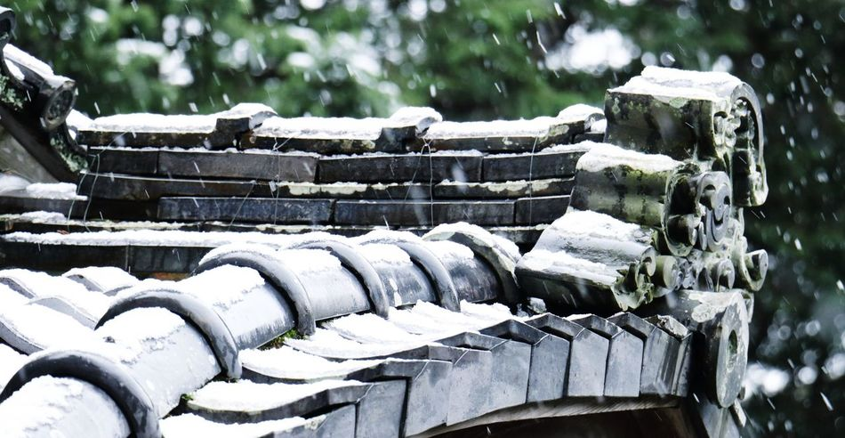 a Japanese Roofs on a Snowy Morning here in a Shrine Toyokawa Aichi Japan
