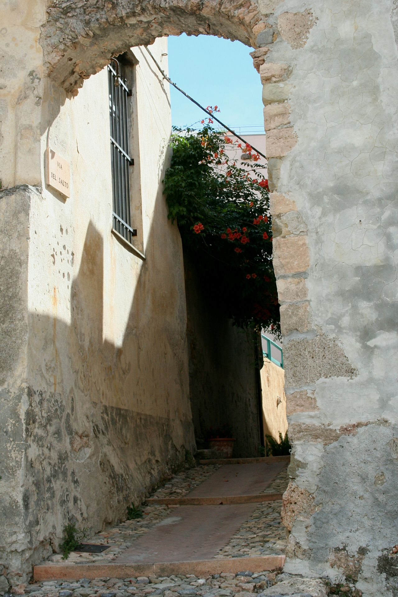 Architecture Built Structure Building Exterior Shadow Outdoors House Day No People Liguria,Italy Blooming In The Street Orange Blooms Vicolo Del Paese Narrow Street Old Buildings Old Street