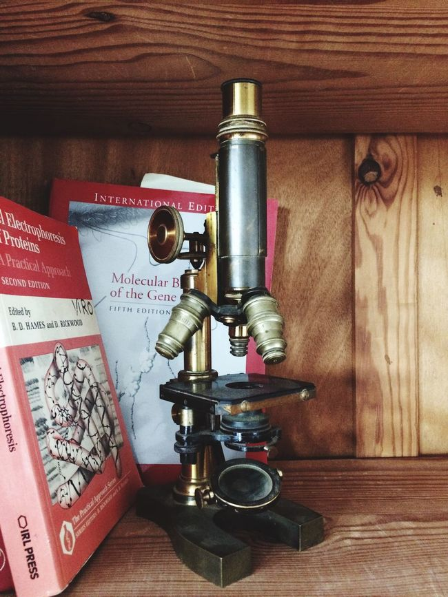 Microscope Science Books Science Wooden Shelves Vintage