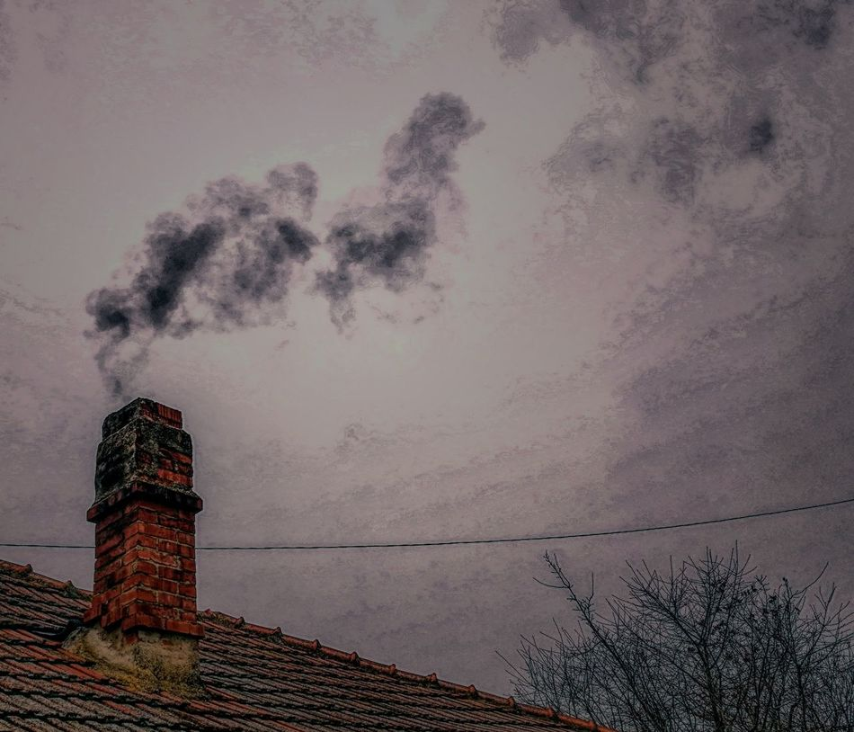 Winter Chimney Bricks Chimney Smoke Smoke - Physical Structure Outdoors No People Sky Postprocessing Hometown Home Sweet Home Day