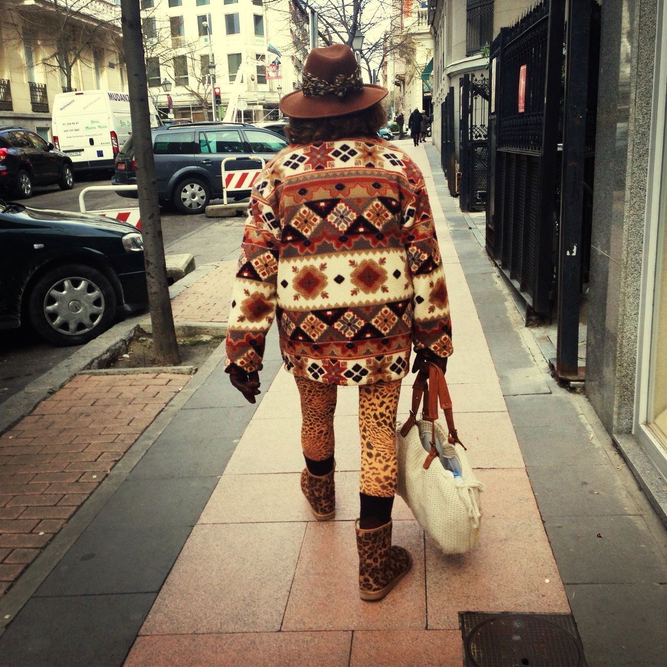 Fashion grandma walking on the street!