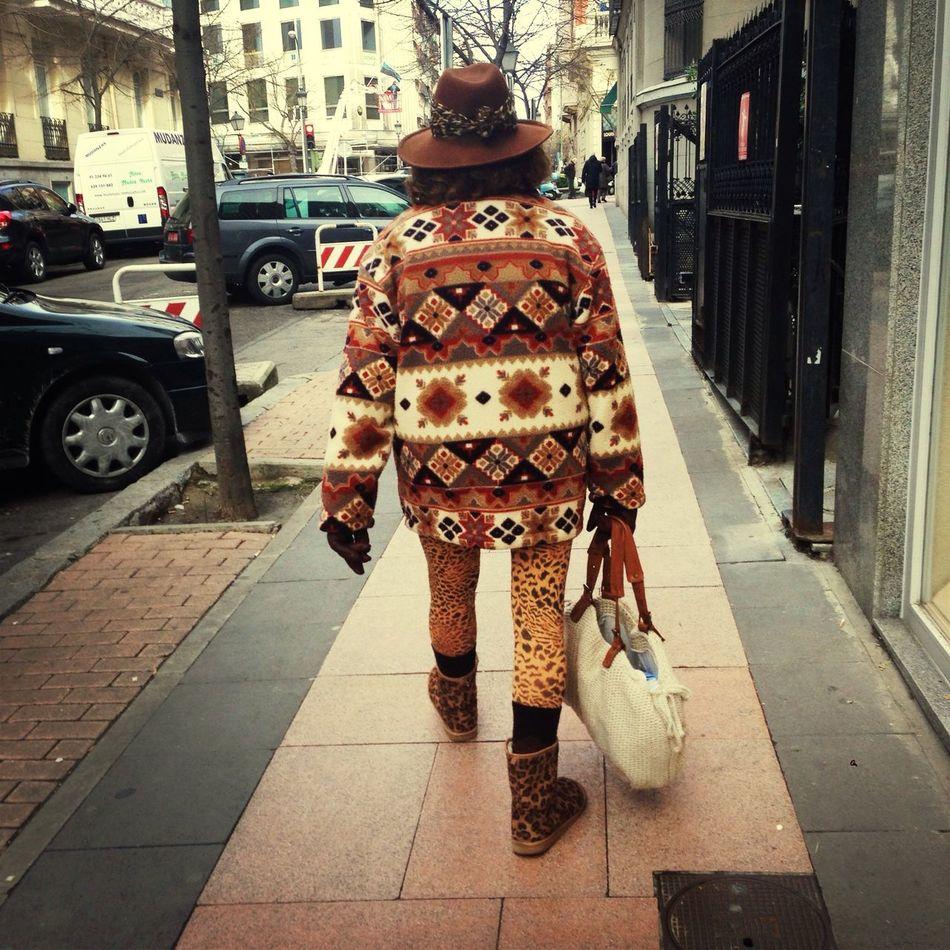 Fashion grandma walking on the street!