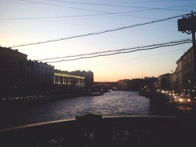 Saint Petersburg Kopru Bridge River Nehir Channel Sunset Gunbatimi Russia Rusya Санкт-Петербург река Закат