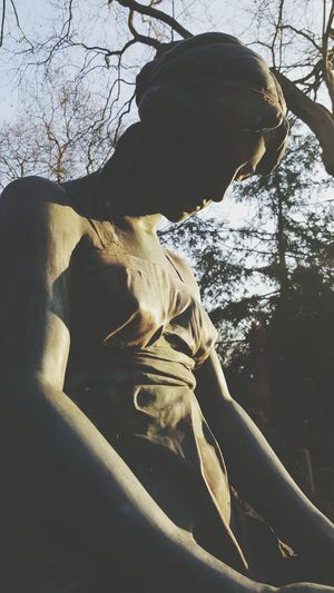 Graveyard Beauty Artistic Photo Card Design Bare Tree Sky Day Sculpture Sculpture Detail Woman Sculptures Female Sculpture The City Light Close-up Focus On Foreground Light Scenics Morning Light Mourning Card Light And Shadow Artphotography Art Photgraphy Things Around Me Outdoors Graveyard Collection Heidelberg Bergfriedhof Shades Of Winter