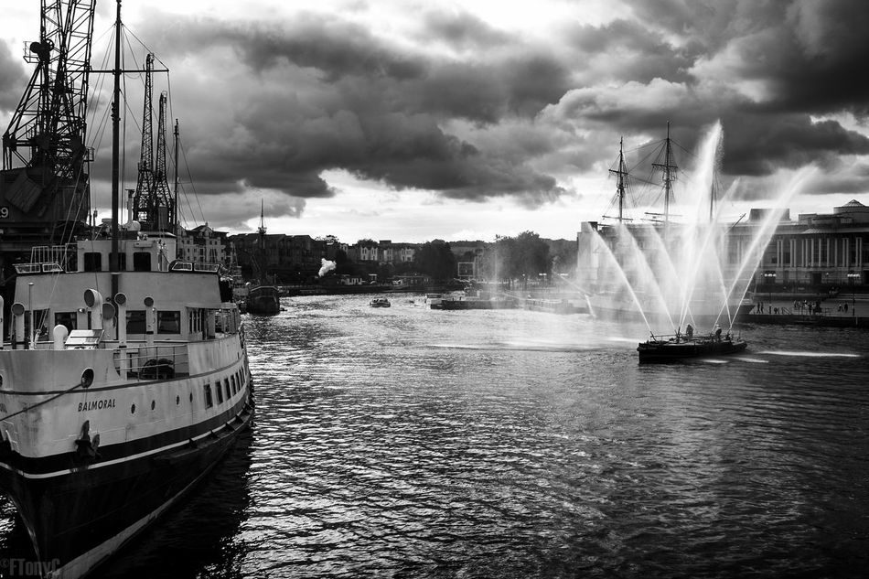 Balmoral Blackandwhite Bristol Cloud - Sky Fire Fire Boat First Eyeem Photo Harbor Mode Of Transport Monochrome Nautical Vessel Sea Sky Transportation Water Waterfront