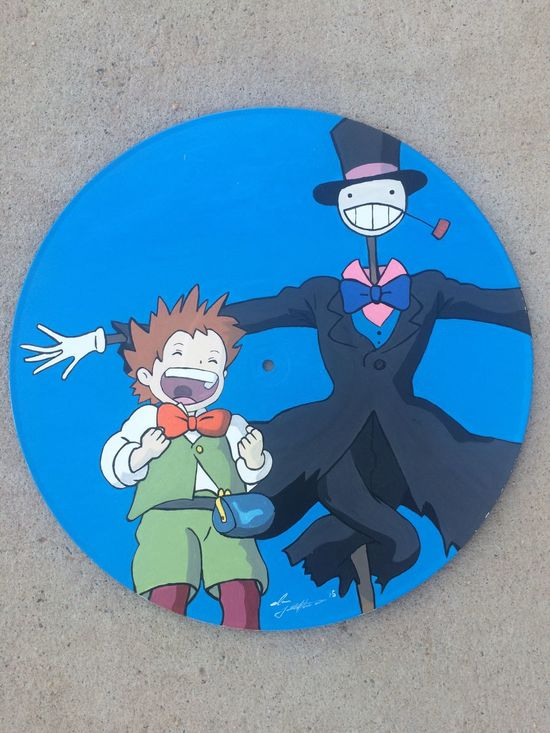 Another record finished.. Howlsmovingcastle Studioghibli Art Records Painting Acrylic Brush AlbuquerqueNM 505