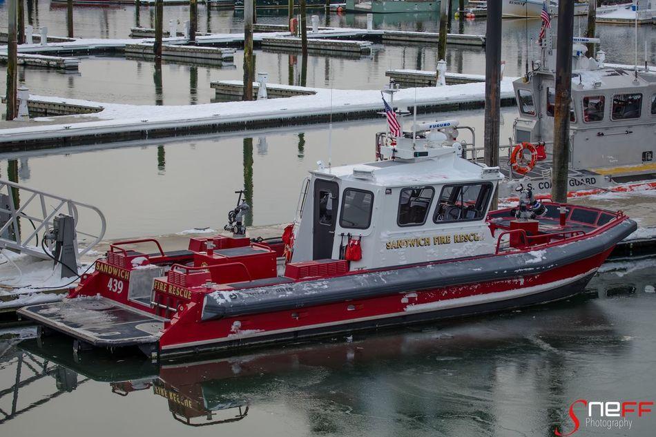 """SFD Boat"" Photo taken of Sandwich Fire Dept. Fire boat in Sandwich, Massachusetts (Cape Cod) Water Nautical Vessel Outdoors Boat Capecod Capecodimages Sonya7II Firedepartment First Eyeem Photo"