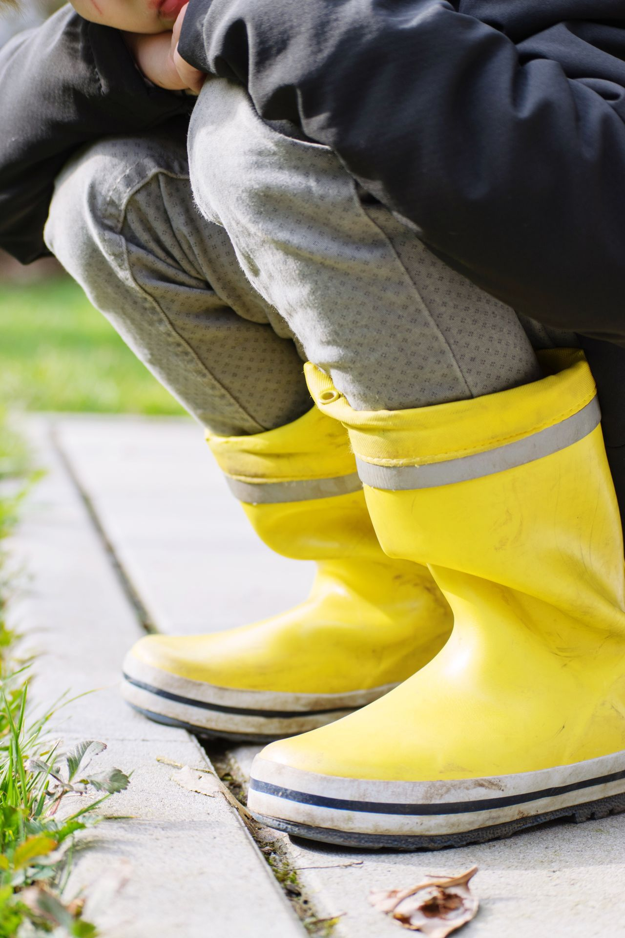 One Person Yellow Human Leg Low Section Outdoors Real People Day Human Body Part Close-up Kids Boots Shoes Rubbers Rubber Boots