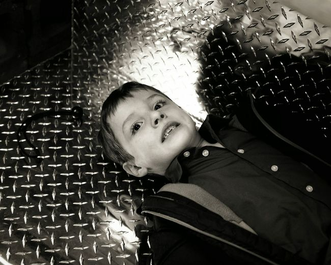 Farm store Seward, Nebraska December 2015 Diamond Plate Monochrome A Day In The Life Shopping Kids Being Kids Candid Photography Shoot Your Life Teeth Elementary Age Little Boy Shiny