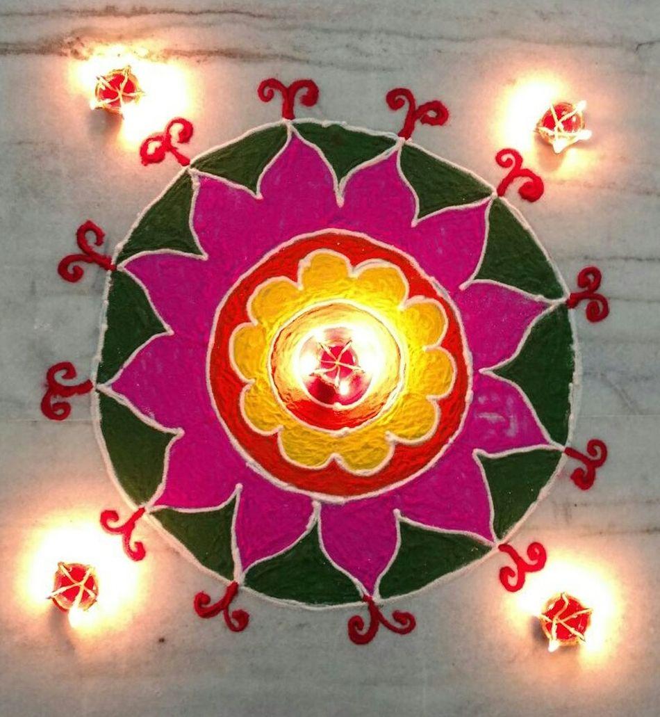 Rangoli Rangolibyme Colorful Rangoli. Diwali Celebration Rangoli Colours India Decoration First Eyeem Photo