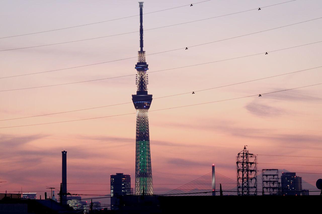 Tower Tokyo Japan Lighting Illuminated Cityscape Sunsets Skytree Tokyoskytree Skyporn Sunset Mtfuji Mountain