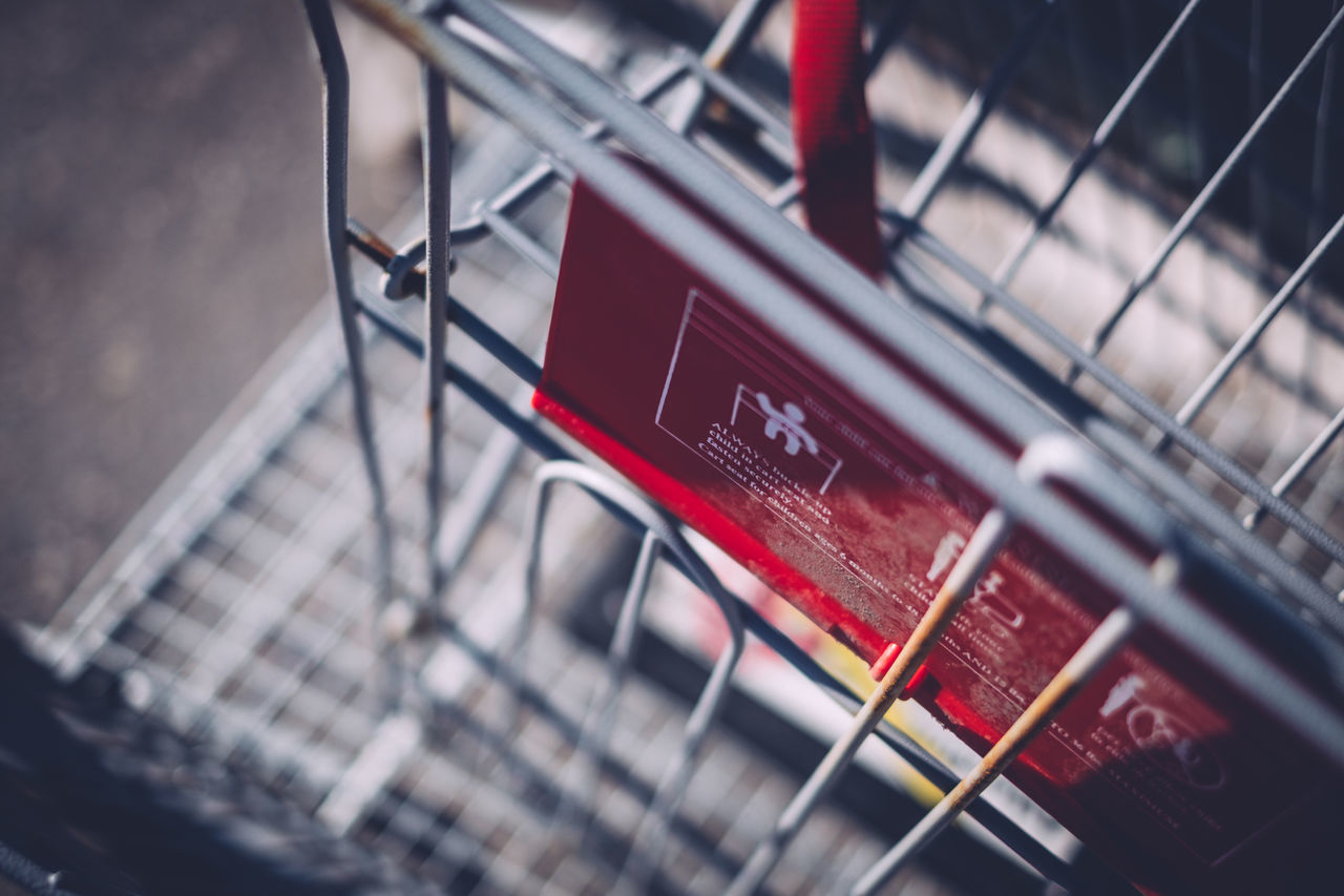 Bokeh Close-up Day Grocery Cart Metal No People Red Selective Focus Shallow Depth Of Field