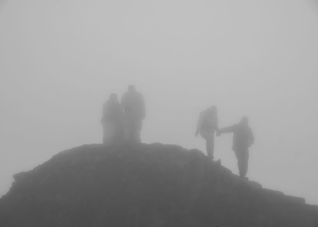 Fog Foggy Day Winter Real People Outdoors Nature Men Togetherness Low Angle View Beauty In Nature Mountain Lifestyles Sky Friendship People Black And White Photography Black And White Looking Up Snowdon Mount Snowdon Mount Snowdon Summit Summit Summit View Mist