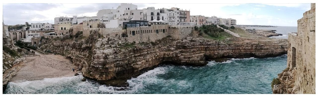 Brindisi Apulia Italy Italia Puglia Panorama Beach Building Exterior Day Travel Destinations Sky Water Outdoors No People Panoramic Built Structure Architecture Town Rocky Coasts Android Photography Smartphone Photography Cliff Wave Nature City Spiaggetta Scenics Insenatura