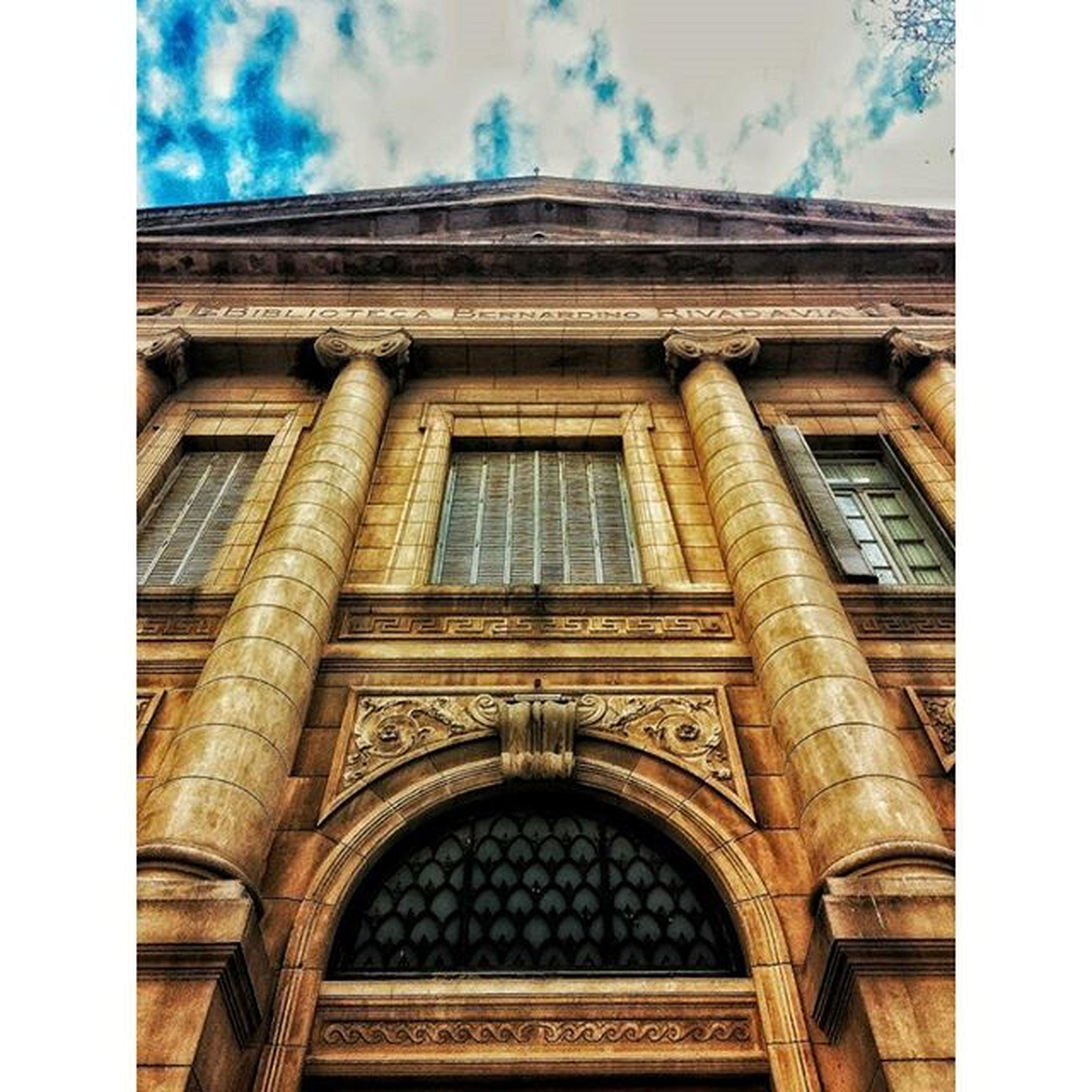 architecture, built structure, transfer print, building exterior, low angle view, auto post production filter, sky, architectural column, window, arch, history, building, facade, day, cloud - sky, column, outdoors, no people, cloud, city