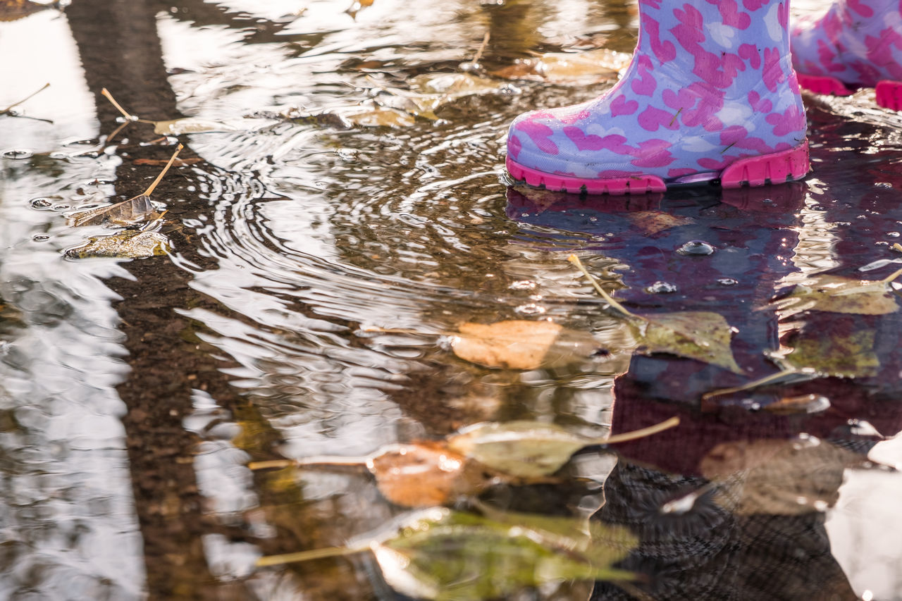 Puddle fun // Autumn Autumn Colors Copy Space Day Fall Fall Beauty Fun Heart Hearts Kids Kids Being Kids Leaves Love Low Section Nature Outdoors Playing Puddle Reflection Rippled Rubber Rubber Boots Splashing Water Wet
