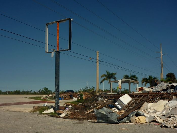 Hurricane Irma Florida Keys Destruction Hurrikan Irma Desaster Zone Debris Aftermath Of Hurricane Irma Hurricane Irma 2017 Cable Day No People Electricity Pylon Outdoors Clear Sky Tree