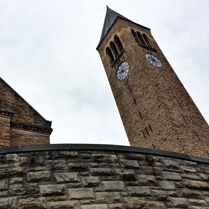 "McGraw Tower is more than a clock tower, it is also home to the Cornell Chimes, where ""chime masters"" play concerts daily, a cherished tradition at Cornell. Architecture Music Urban Geometry Cornell University"