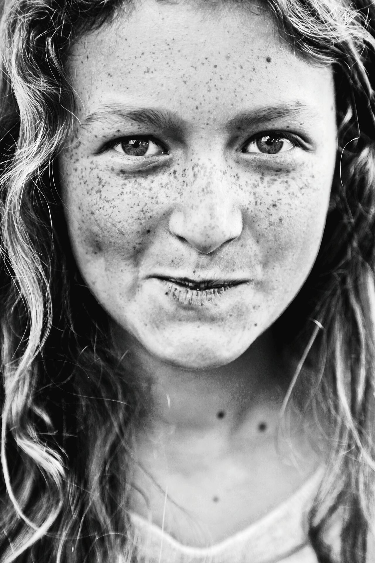 Portrait Close-up Child Girl Freckle Freckles Freckled Girl Freckle Face Headshot One Person One Girl Only Real People People Looking At Camera Black & White Black And White Blackandwhite Beauty Looking At Camera Human Face Expression EyeEmNewHere Resist Art Is Everywhere Fresh on Market 2017 The Portraitist - 2017 EyeEm Awards