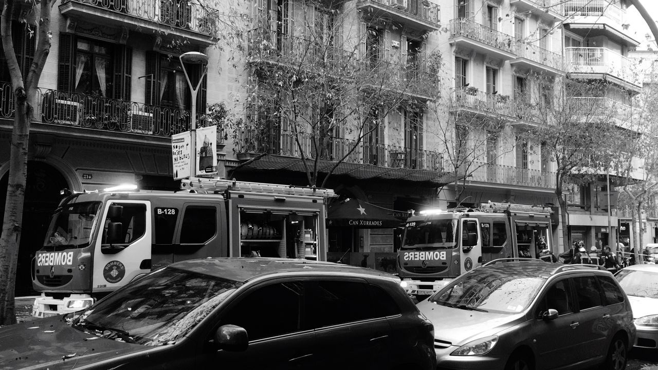 Transportation Mode Of Transport Land Vehicle Car City Architecture Built Structure Building Exterior Stationary Outdoors No People Day Police Car Fireworks Fire Firetruck RISK Rainy Days Rain Blackandwhite Black & White Barcelona Streets