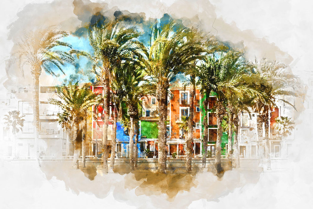 Digital watercolor painting of Villajoyosa town, Costa Blanca. Province of Alicante, Valencian Community, Spain Alicante Province Spain Architecture Art Colorful Costa Blanca Digital Art Digital Painting Digitally Generated Europe Houses Houses And Windows Illustration Multicolored Houses Outdoors Palm Trees Picturesque Village SPAIN Tourism Tourist Resort Town Travel Destinations Tropical Climate Villa Joyosa Village Villajoyosa