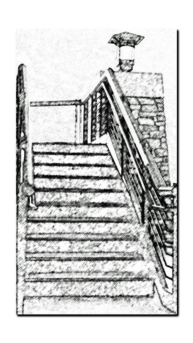 Stairway of Observation Tower @ Middle Harbor 8 Geometric Patterns Angles Best Of Stairways Port Of Oakland, Ca. Steps And Stairs Handrails Chalk Art Chalk Rendering Black & White Sketch