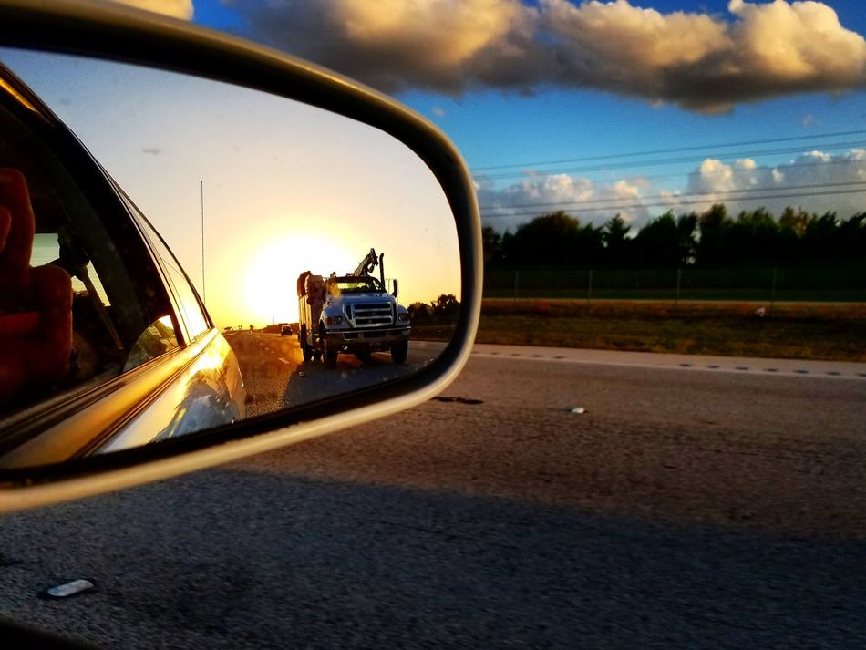Car Transportation Sunset Mode Of Transport Land Vehicle Road Sky Tree Side-view Mirror Outdoors Cloud - Sky No People Nature Day Vehicle Mirror