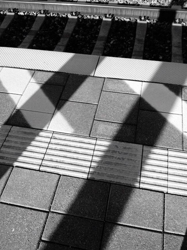 HASHTAG Tracks Rail Platform Light And Shadow Sign Walking Around Blackandwhite Blackandwhite Photography in Erlangen Railwaystation