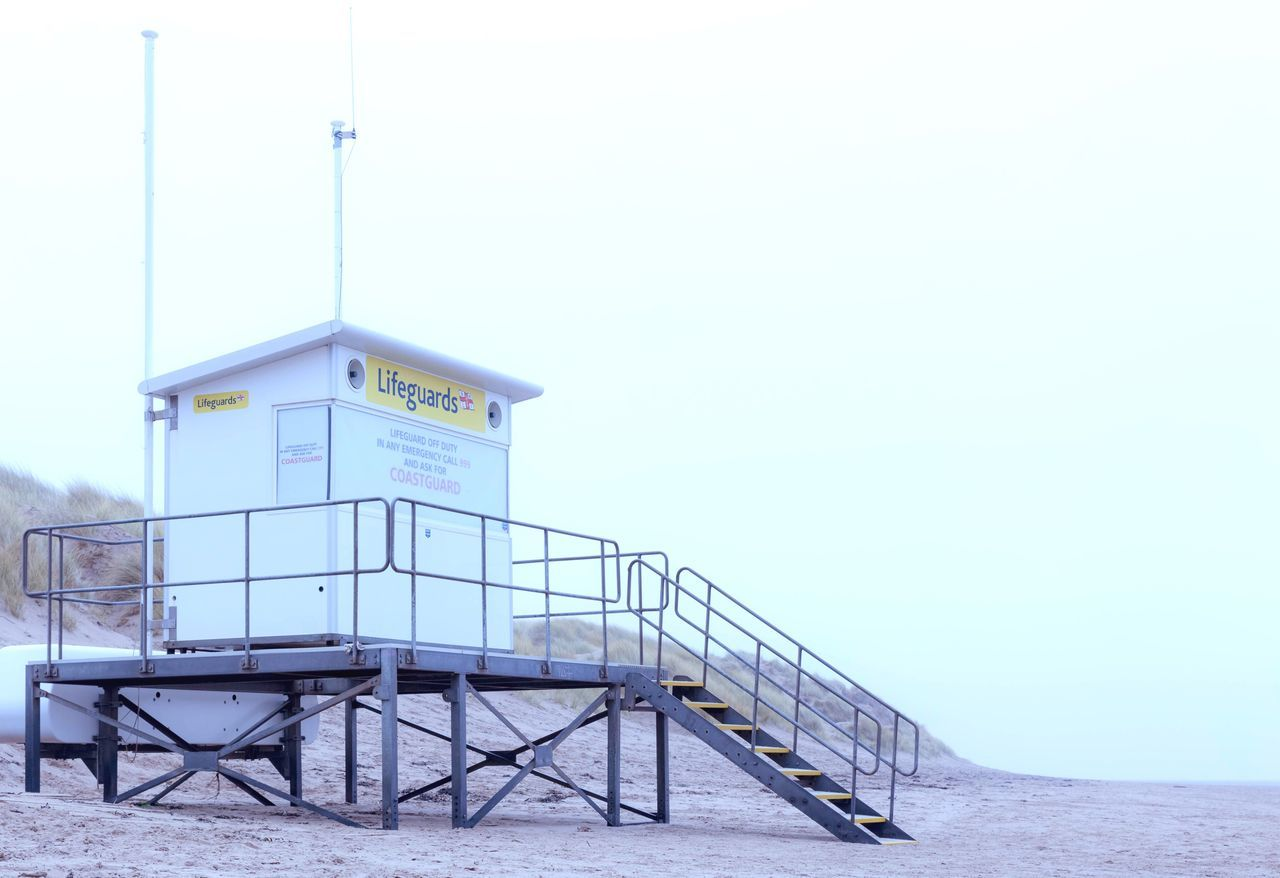 Lifeguard station on Formby Beach Railing No People Lifeguard Hut Built Structure Beach Architecture Outdoors Sand Day Lifeguard Station Shore Beach Photography Formby Formby Beach Low Angle View Silence Early Morning Before Sunrise Walking On The Beach Enjoying Life Enjoying The View Calmness Softness