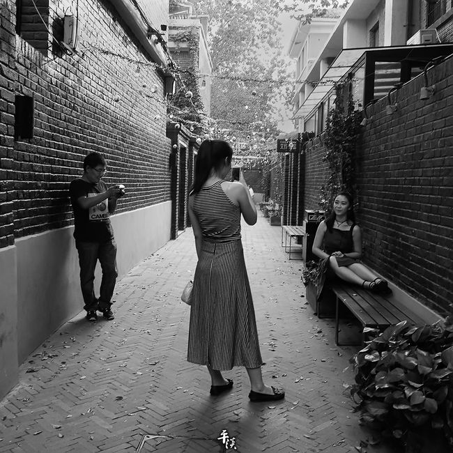 Architecture Building Exterior Built Structure Full Length Togetherness Lifestyles Leisure Activity City Friendship Day Casual Clothing Alley The Way Forward Narrow Footpath Outdoors Paving Stone Stree Photography Tianjin China Black & White Your Design Story Ricoh Gr Black And White Street Photo