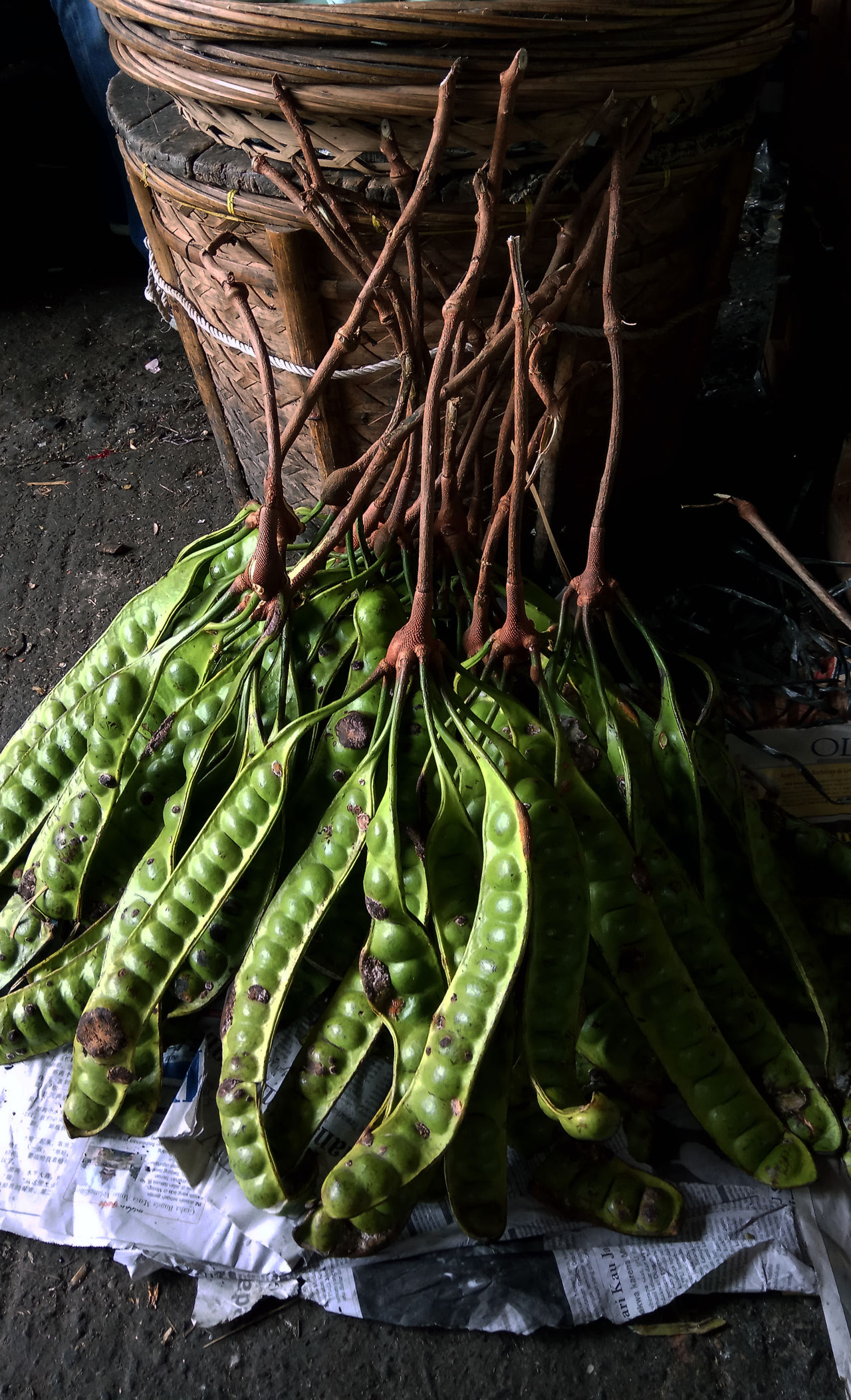 Petai fruit is indigenous fruit of indonesia which has a stinging smell Close-up Day Food Food And Drink For Sale Freshness Green Color Healthy Eating High Angle View Market No People Outdoors Streetphotography Vegetable