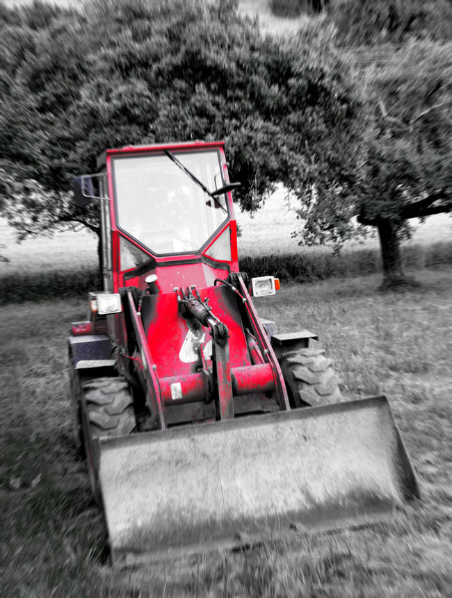 The red excavator Black And White Excavator Field Landscape Playing With Colours Playing With Colors Non-urban Scene Red Scenics Vehicle