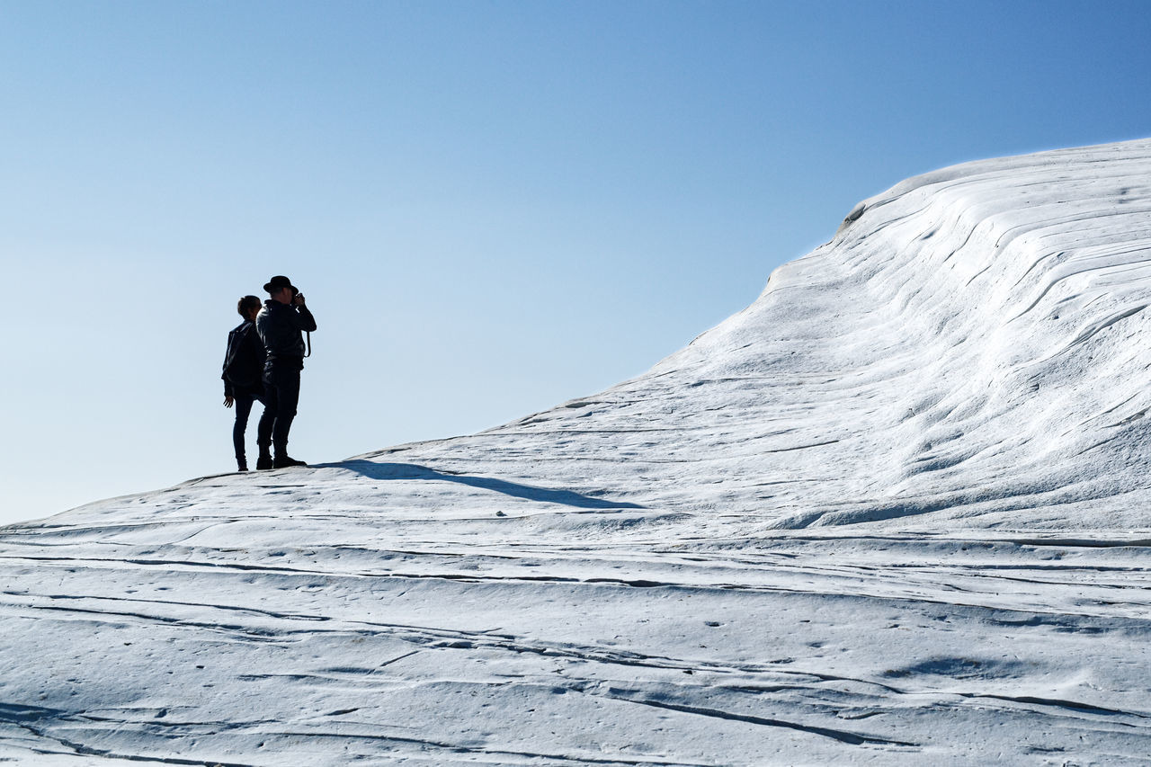 Adventure Beauty In Nature Cold Temperature Day EyeEmNewHere Full Length Italia Italy Men Mountain Nature Outdoors People Real People Scala Dei Turchi Scenics Shadow Sicilia Sicily Sicily, Italy Silhouette Two People Winter