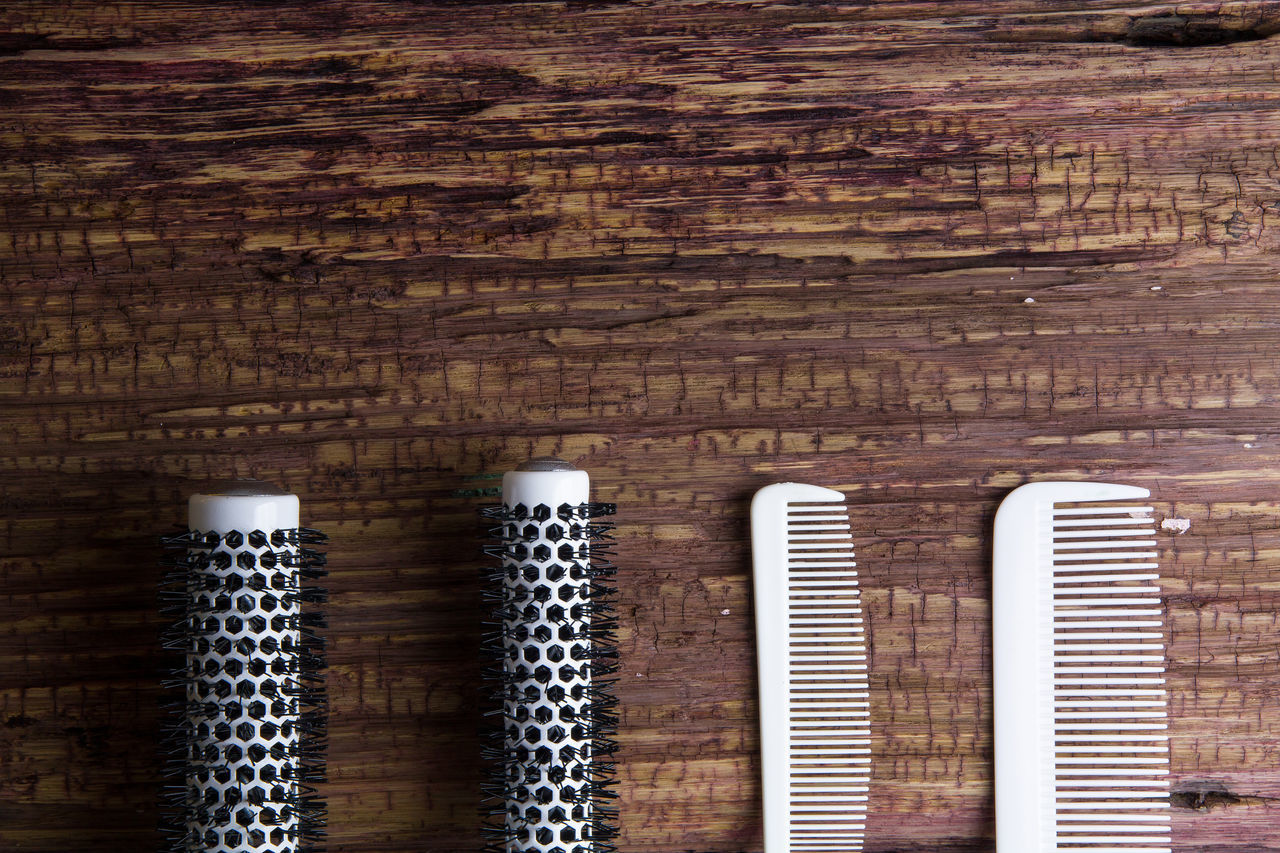 Stylish Professional Barber and salon, Comb, Haircut accessories on wood background with copy space Accessory Appliance Background Barber Comb Equipment Fashion Hair Hair Style Hairdresser Hairsalon Hairstyle Hairstyles Hairstylist Salon Tool White Wooden Work