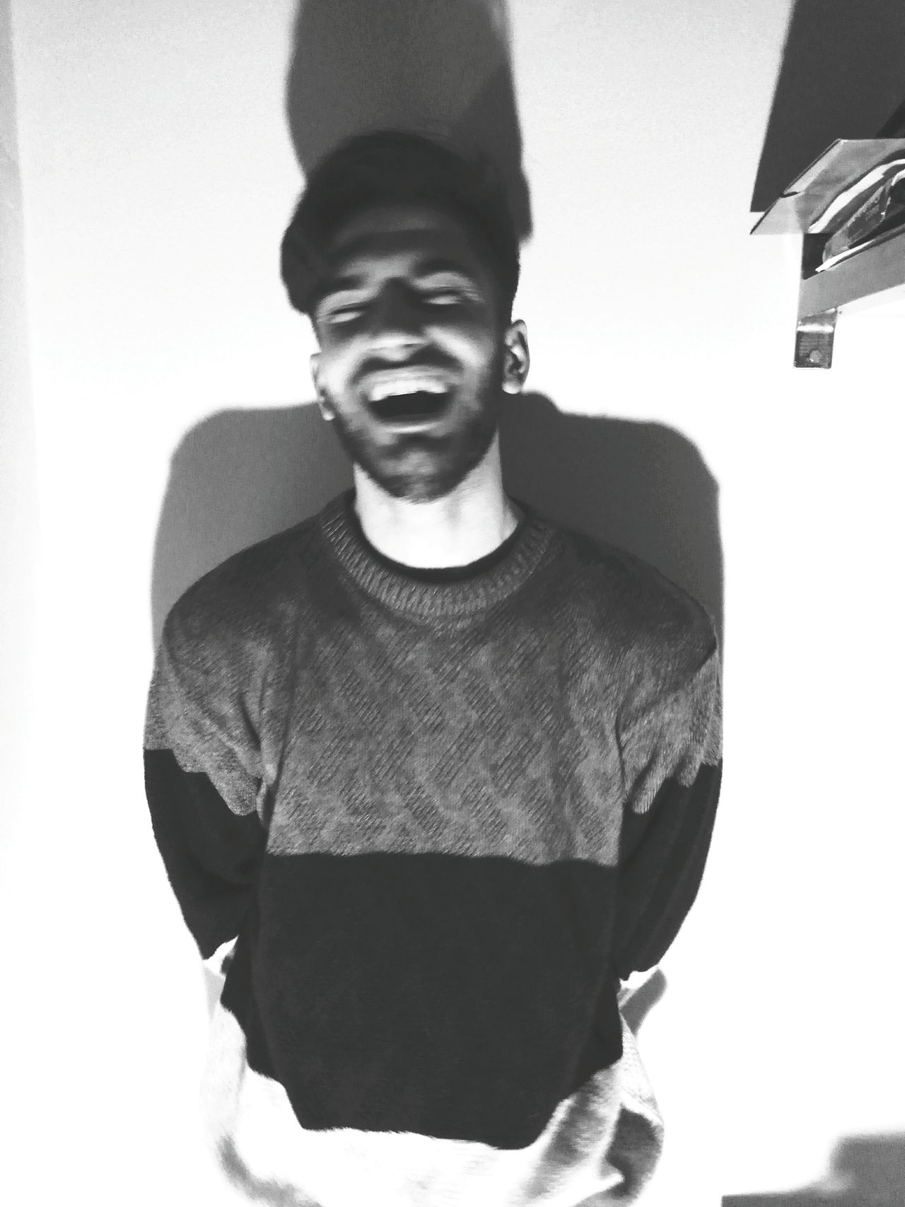 Never stop laughing, even in your lowest lows. Portrait Front View Looking At Camera One Person One Man Only Young Adult Indoors  Day Blackandwhite Blackandwhite Photography Black And White Collection  Black And White Portrait Black & White Young Men Young Boy Laugh Laughing Out Loud