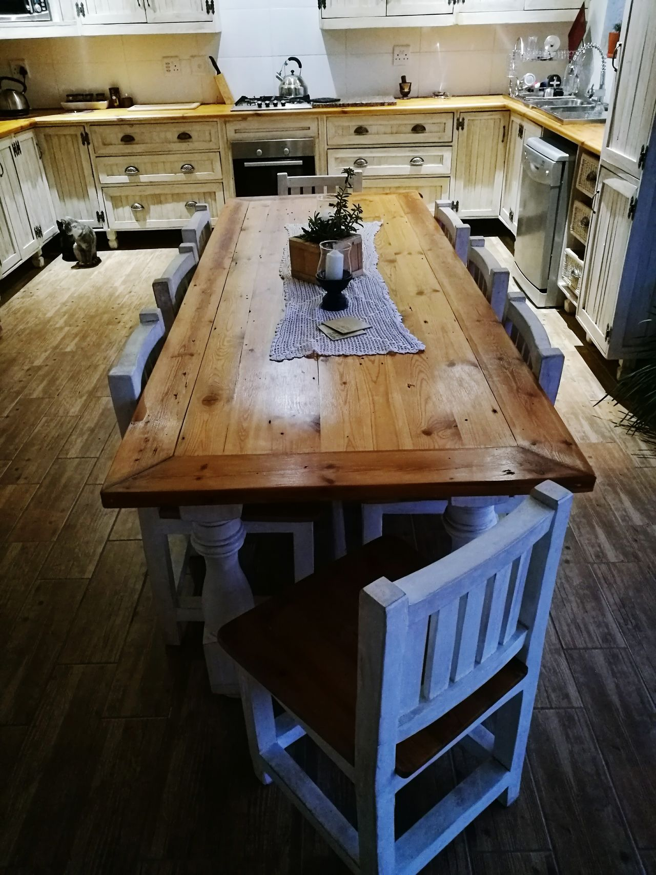 Farmstyle Kitchen Indoors  No People Close-up Day Chair Old-fashioned Tablet Tables And Chairs Tablecloth Kettle Cupboards Wood Surface Raw Wood Farmhouse Kitchen Life
