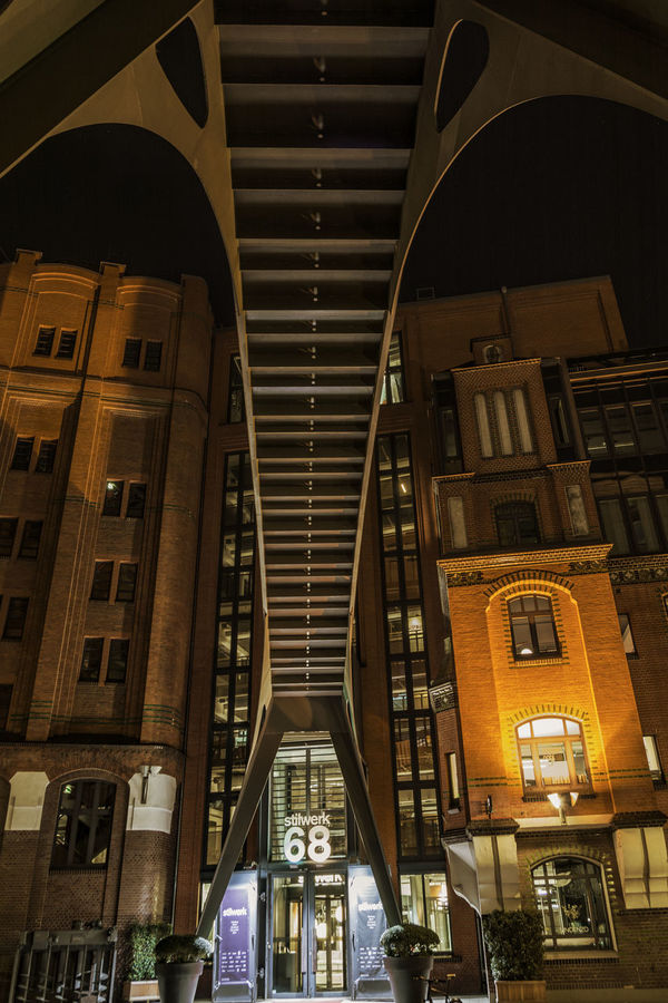 FootBridge Arch Architecture Building City City Life Doors Footbridge Hamburg Altona Illuminated Lighting Equipment Low Angle View Modern Night Night Photography No People Outdoors Window