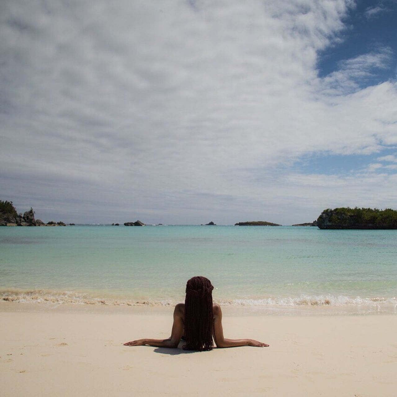 Mermaids on the beach at Coopers Island, Bermuda