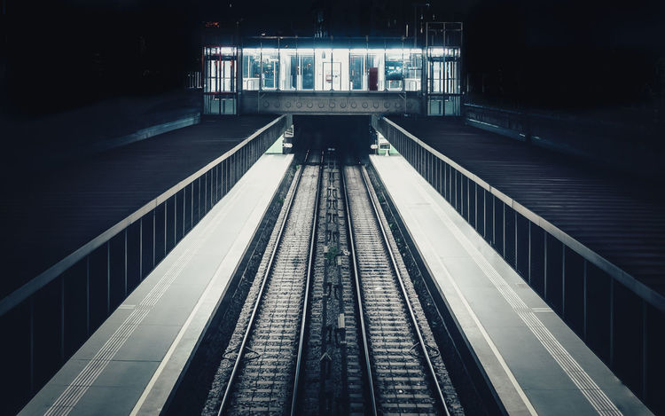 Architecture City Dark Darkness And Light Diminishing Perspective Illuminated Light Light And Shadow Night Night Lights Night Photography No People Subway Station Subway Tracks The Leftovers Vanishing Point Vienna View From Above