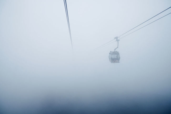 Took an eerie cable car ride through the fog up to the Tian Tan Buddha in Hong Kong. Atmospheric Mood Beauty In Nature Cable Car Eerie Foggy Hong Kong Lantau Island Ngong Ping 360 No People Outdoors Sky Tian Tan Buddha (Giant Buddha) 天壇大佛 Tranquil Scene Tranquility Vanishing Point Weather What's On The Roll Color Palette Eyeemphoto