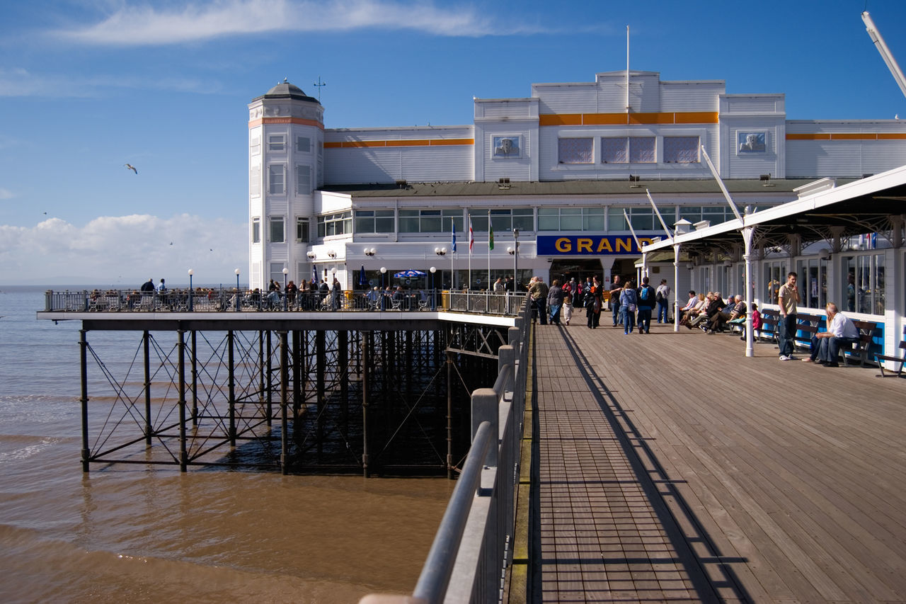 2008 Architecture Before The Fire Built Structure Grand Pier Large Group Of People Men Outdoors Pavilion People Real People Sky Weston-super-mare