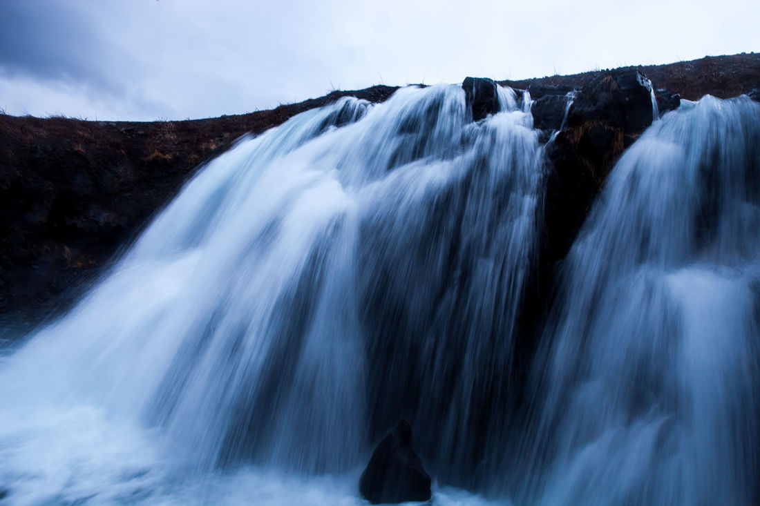 Fossarrett waterfall - Iceland Beauty In Nature Blue Blur Motion Day Fossárrétt Iceland Landscape Long Exposure Nature No People Outdoors Scenics Sky Waterfall White