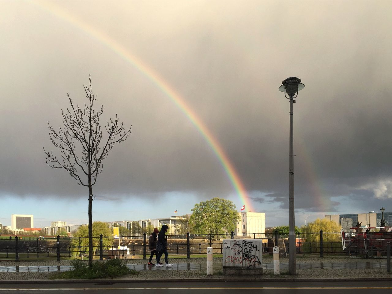 Rainbow over Berlin government quarter Rainbow Double Rainbow Tree Built Structure Building Exterior Day Architecture Outdoors Sky Nature Multi Colored Beauty In Nature No People Brandenburg Gate Berlin Regierungsviertel Mitte Germany Angela Merkel Kanzleramt History Berlin Photography