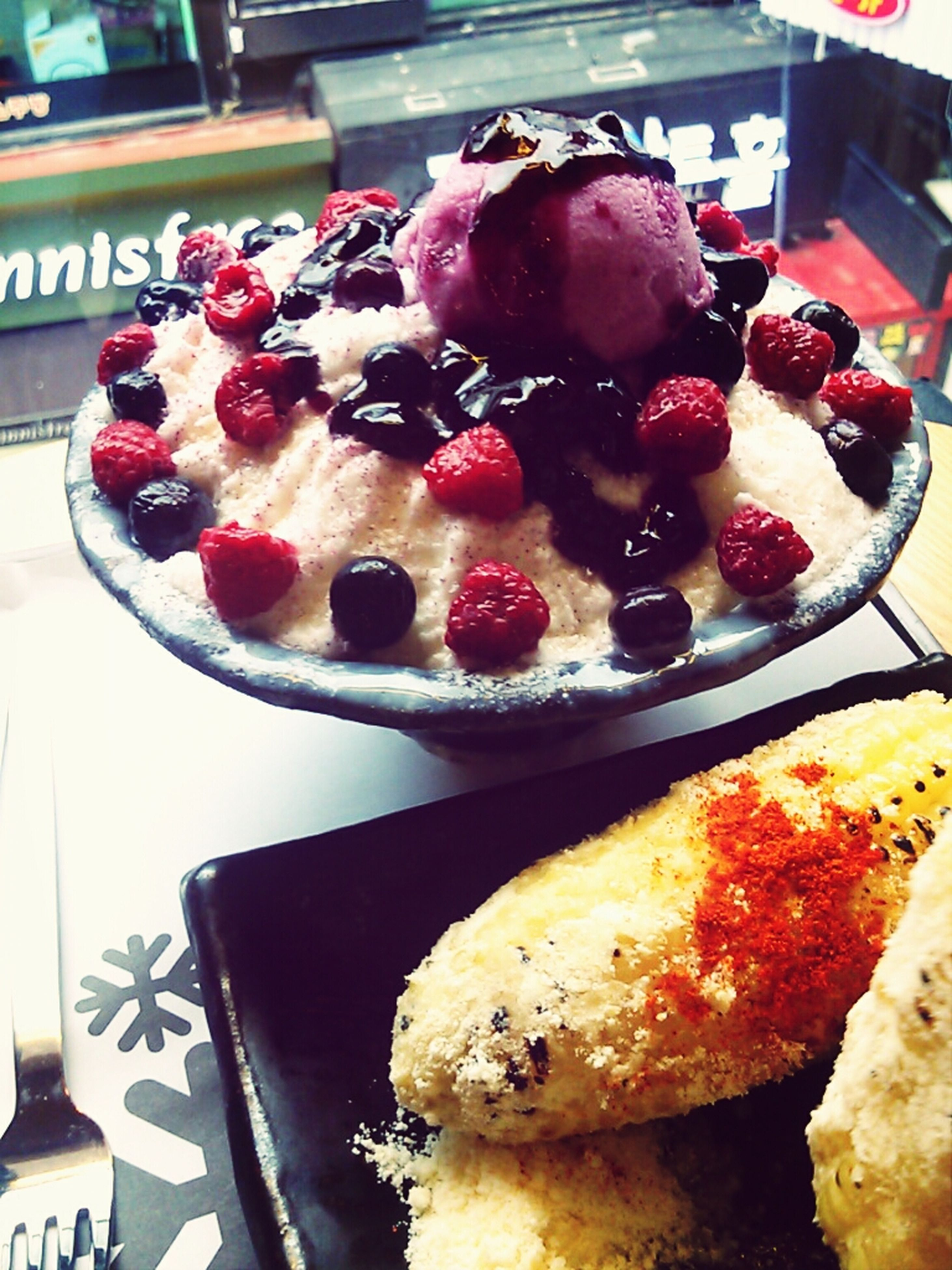 food and drink, food, freshness, sweet food, indoors, dessert, ready-to-eat, fruit, strawberry, indulgence, unhealthy eating, still life, cake, plate, temptation, raspberry, table, close-up, breakfast