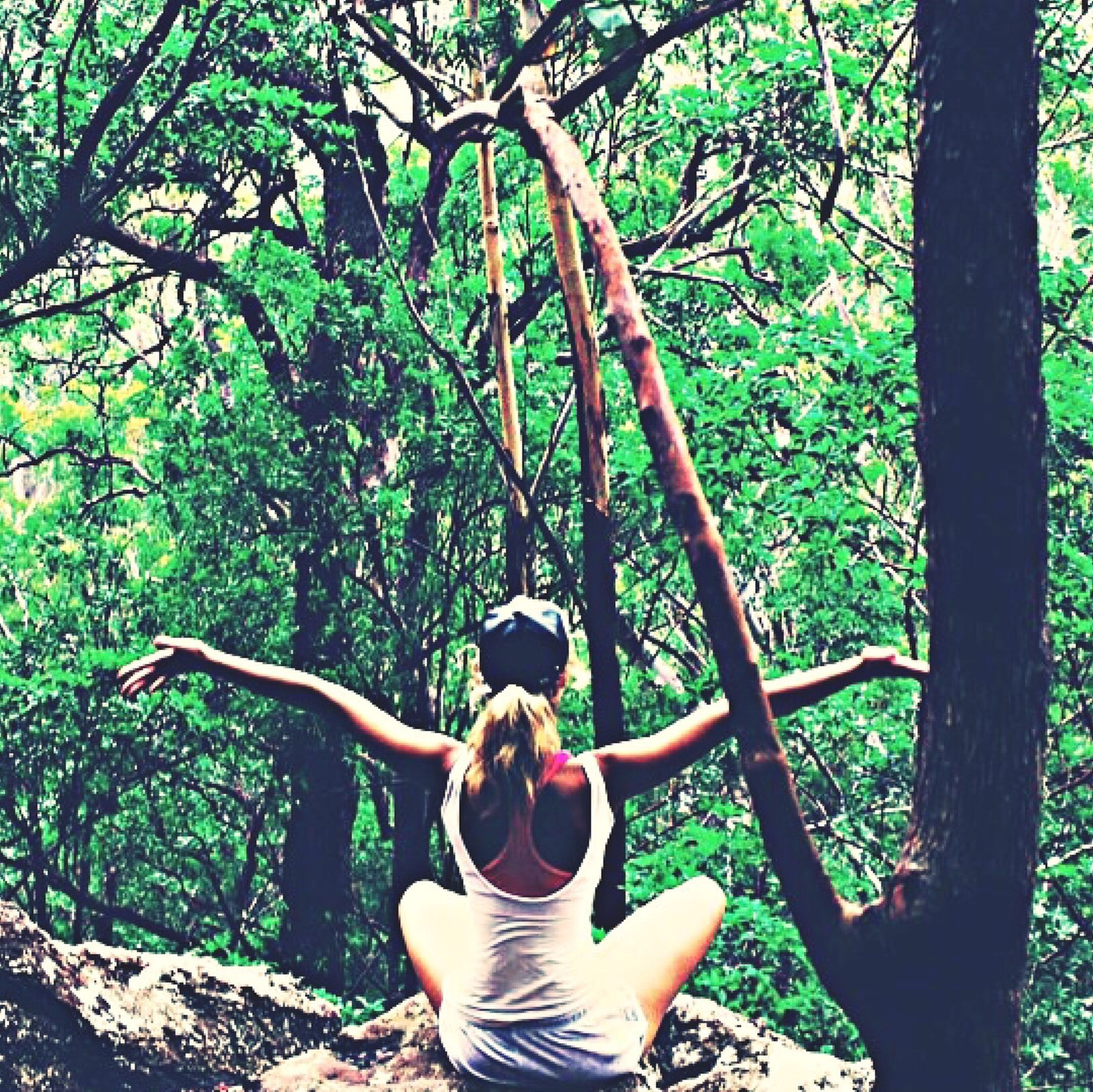 tree, lifestyles, leisure activity, young adult, person, casual clothing, full length, sitting, young women, forest, childhood, tree trunk, branch, relaxation, three quarter length, growth, nature, park - man made space