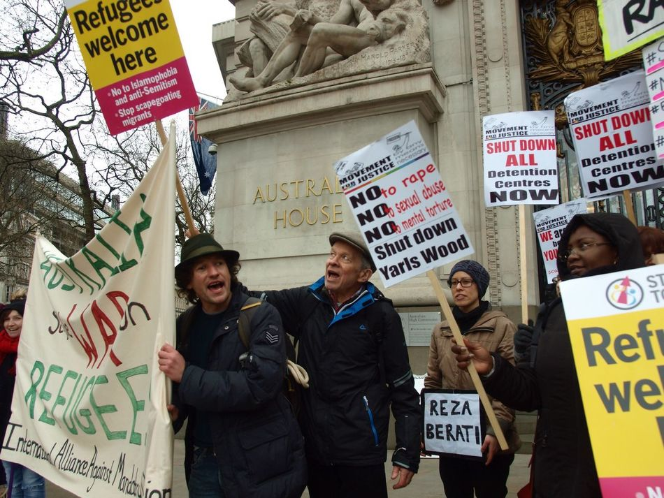 Australia House. Refugees Welcome Here. Protest against Australian immigration policy. London. 19-03-16 Immigration Protest London Refugeeswelcome Australia House Steve Merrick Britain Politics Zuiko Olympus Stevesevilempire Protesters Protesting