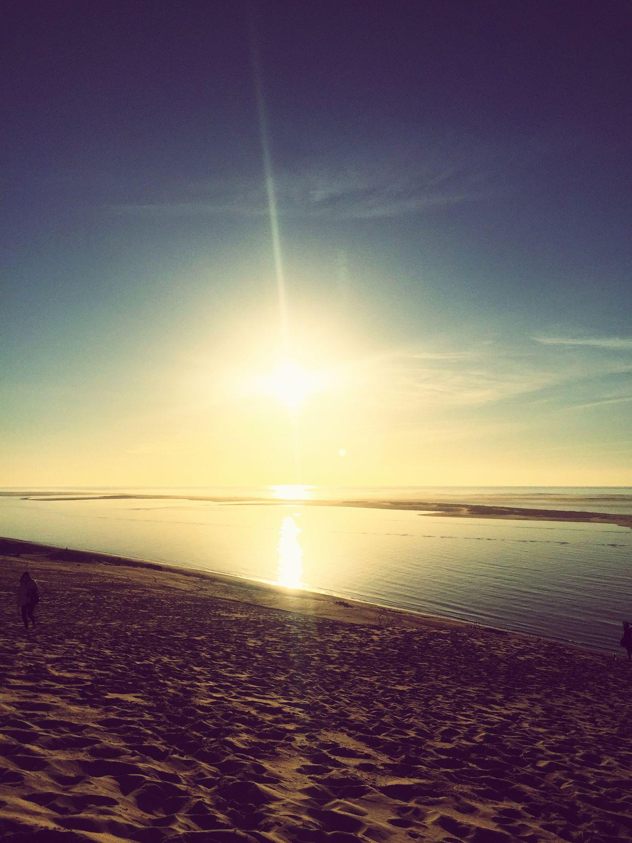 Sea Horizon Over Water Tranquility Beach Water Dune Du Pyla